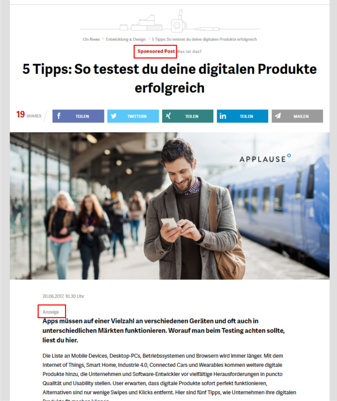Advertorial Beispiel
