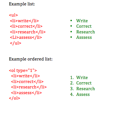Sample list HTML