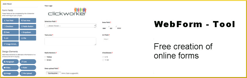 free form tool  WebForms - free form tool by clickworker; Your Content Provider