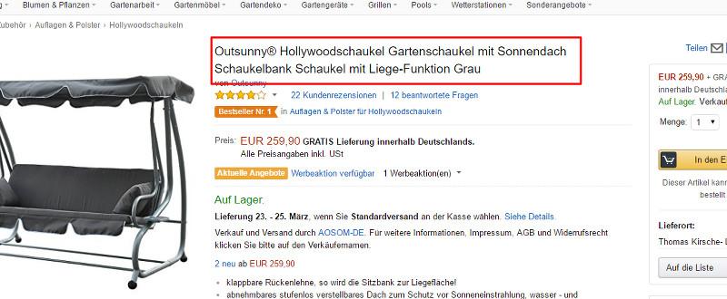 Amazon SEO Produkttitel positiv