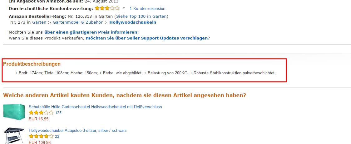 Amazon SEO Produktbschreibung negativ