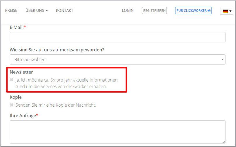 E-Mail Marketing Einwilligungserklärung
