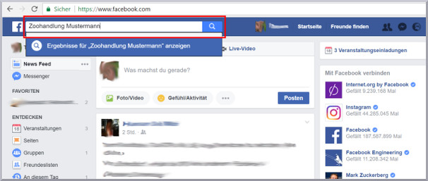 Internetrecherche Facebook