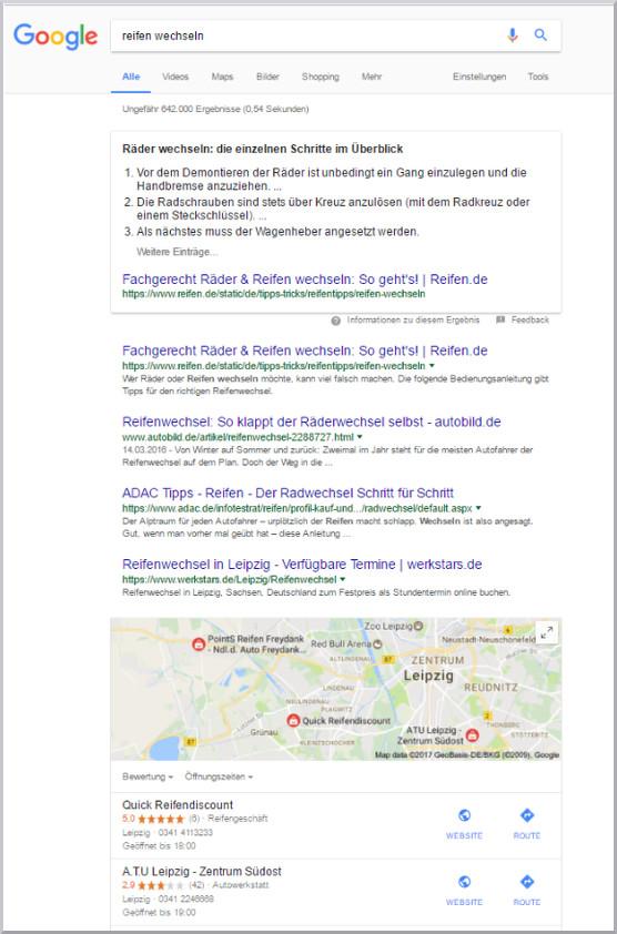 SEO Content Googlesuche reifen wechsel