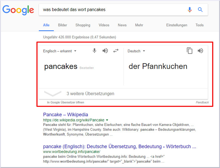 Antwort aus dem Google Knowledge Graphen