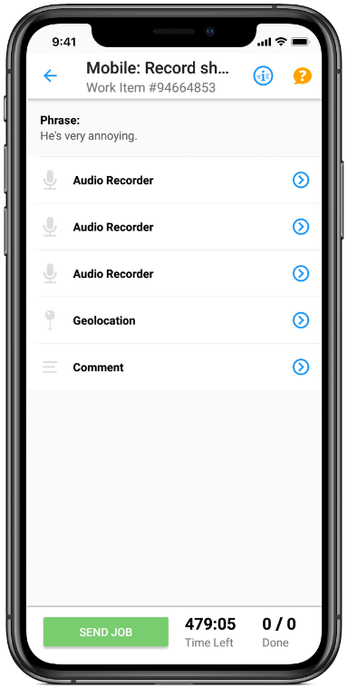 Clickworker App create audio recordings
