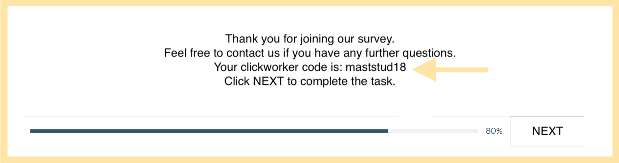 code on the very last page of the survey