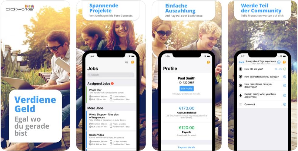 Clickworker-App - schnell und einfach Geld verdienen