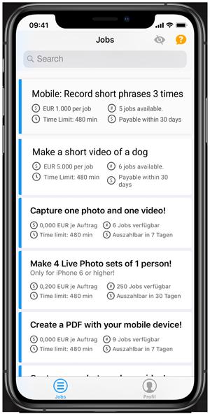 Clickworker-App Job auswählen